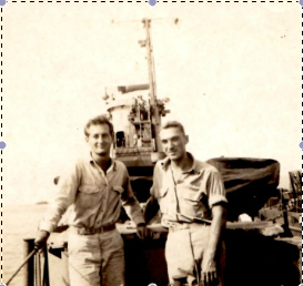 With a shipmate, 1945