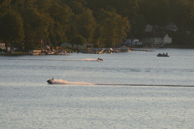 Jet skies at sunset on Paw Paw Lake