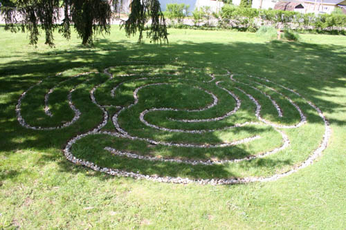 30-foot garden labyrinth laid with river rock